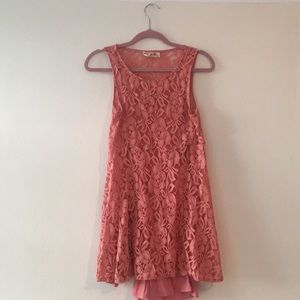 Coral lace free people a-line dress!